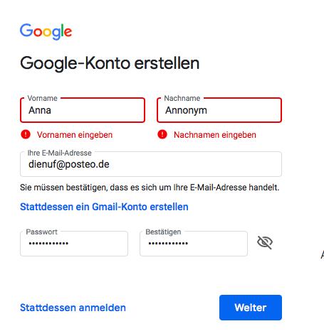 Google-Konto anlegen ist Voraussetzung für YouTube-Account