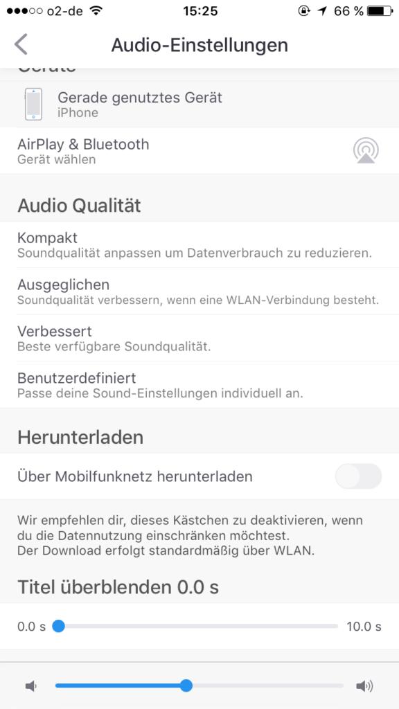 Deezer Audio Einstellungen
