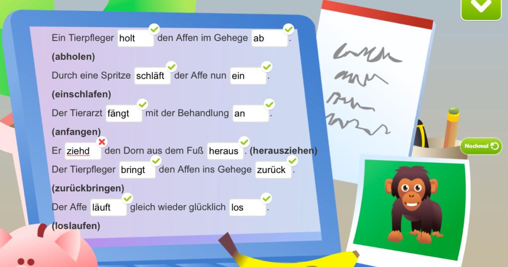 Das Bild zeigt ein Lernbeispiel im Fach Deutsch
